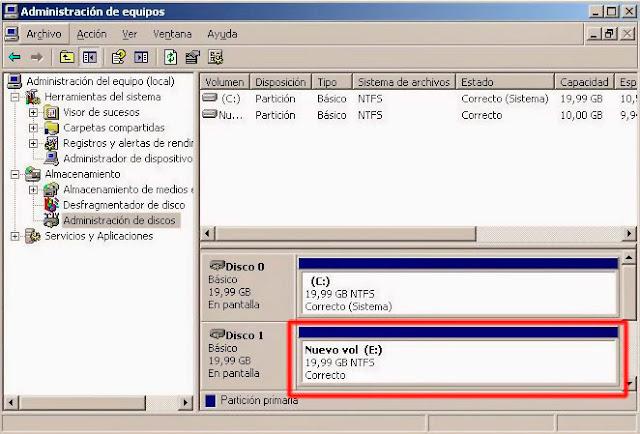 Si vamos ha administrador de discos podemos ver que nuestro sistema de archivos NTFS de 10 GB se ha extendido a 20 GB sin perdida de datos.