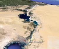 Süveyş kanalının uzaydan görünümü