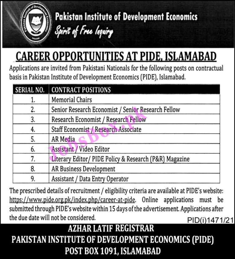 https://pide.org.pk/index.php/career-at-pide - PIDE Pakistan Institute of Development Economics Jobs 2021 in Pakistan