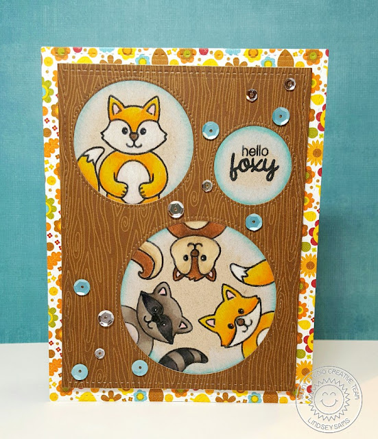 Sunny Studio Stamps: Woodsy Creatures Fox, Chipmunk, Squirrel & Raccoon Card by Lindsey Sams.