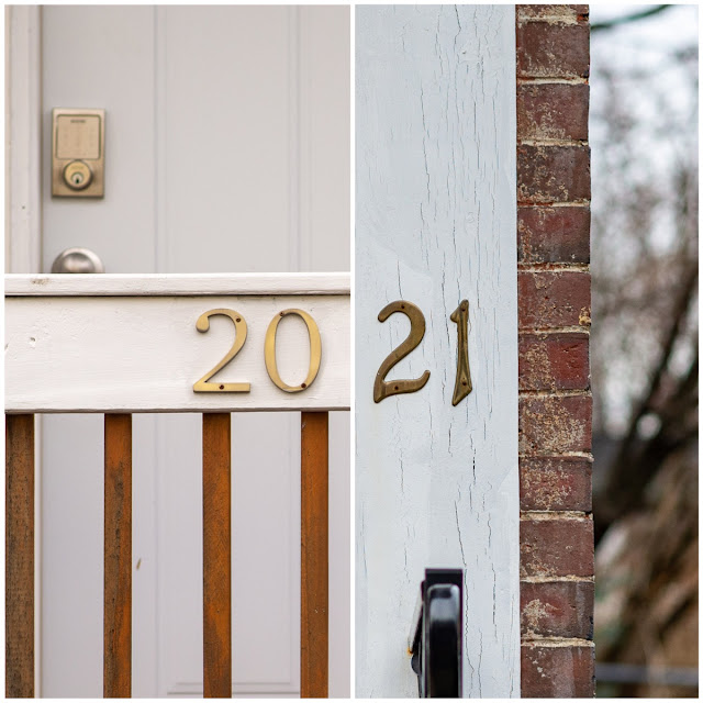 Portland, Maine USA December 2020 photo by Corey Templeton. House numbers 20 and 21 for New Years.