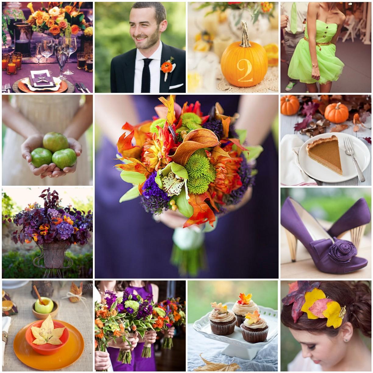 Wedding Colors: Fall Orange, Plum, Green Wedding