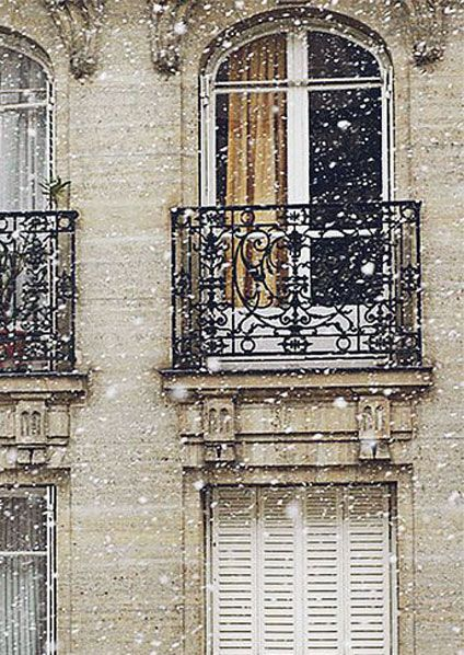 image result for Paris in the snow balcony
