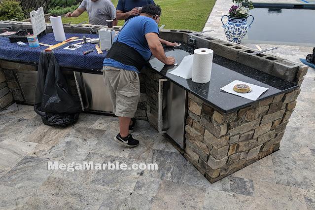 Outdoor granite countertop installation