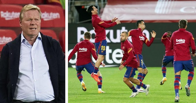 Barcelona manager Koeman has added more intensity to pre-game warm-up; No more passing the ball around