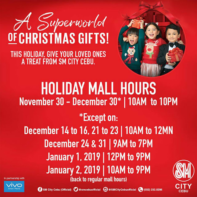 Holiday Mall Hours 2018 SM City Cebu