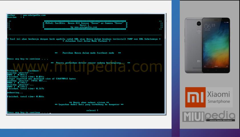 Proses perbaikan menggunakan Mipedi ToolKits  Fix Sensor dan Kamera Blur