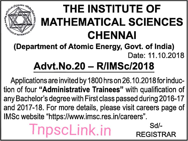 IMSC Chennai Administrative Trainees Wanted - Notification 12.10.2018