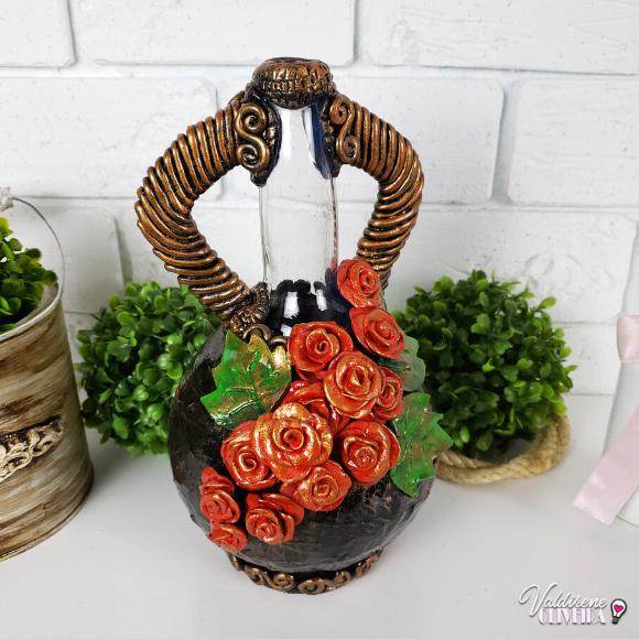 Diy garrafa de vidro decorada - valdirene oliveira
