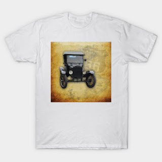 Antique Car on Old Route 66 on and Map T-Shirt