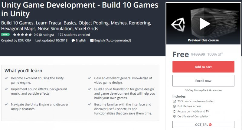 100% Off] Unity Game Development - Build 10 Games in Unity| Worth