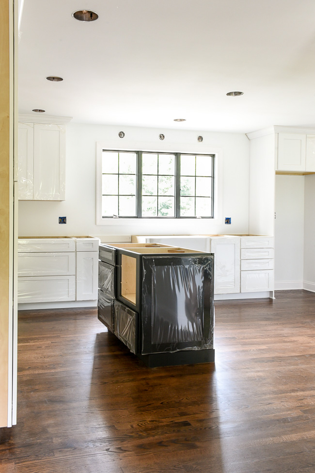 White and dark gray kitchen renovation progress