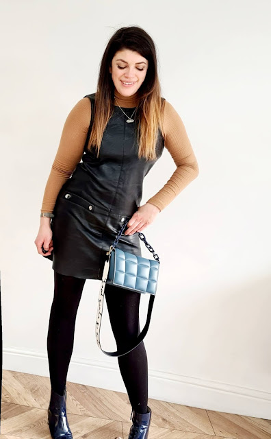 Ootd fashion for mums leather pinafore dress patent ankle boots rollneck quilted YSL bag winter spring outfits
