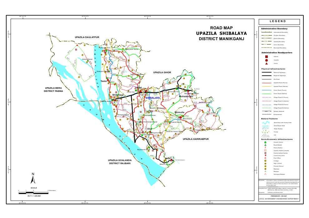 Shivalaya Upazila Road Map Manikganj District Bangladesh