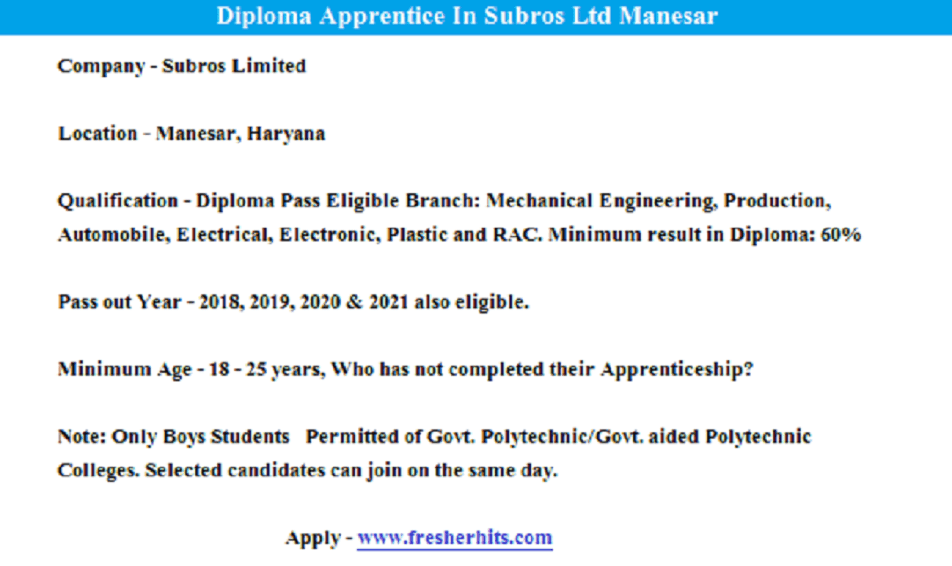 Diploma Apprentice Openings In Automobile Air Conditioning Company