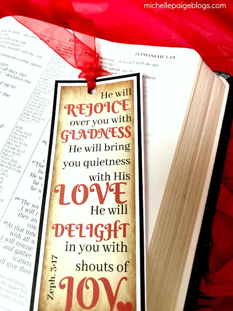 Zeph. 3:17 Printable Bookmark @michellepaigeblogs.com