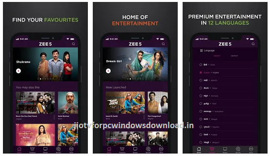 Zee5 for pc features