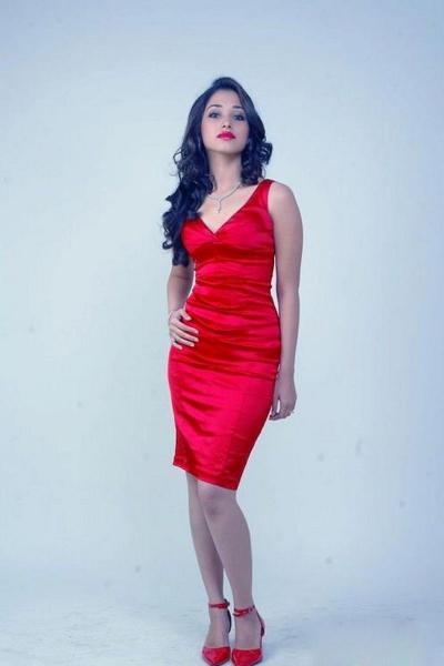 Tamannah latest-hot photoshoot stills-Red Dress