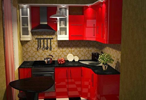 Small Kitchen Furniture Ideas In Red Color