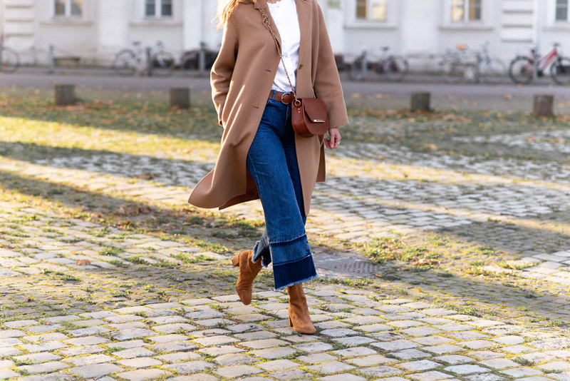 manteau comptoir des cotonniers chemise vintage jeans large NA-KD bottines camel H&M