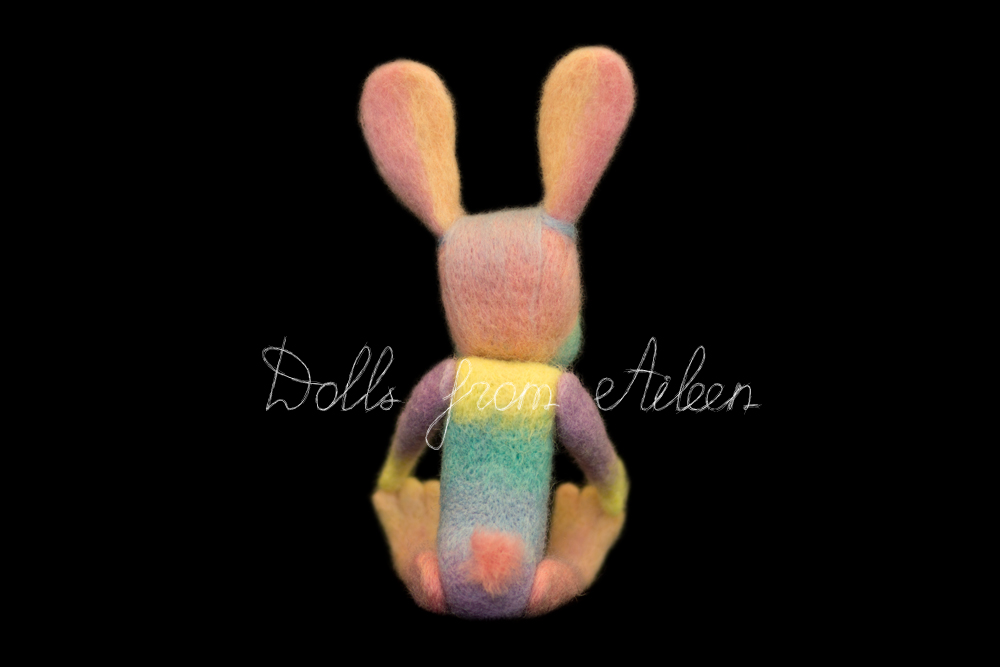 ooak needle felted rainbow bunny, view from behind