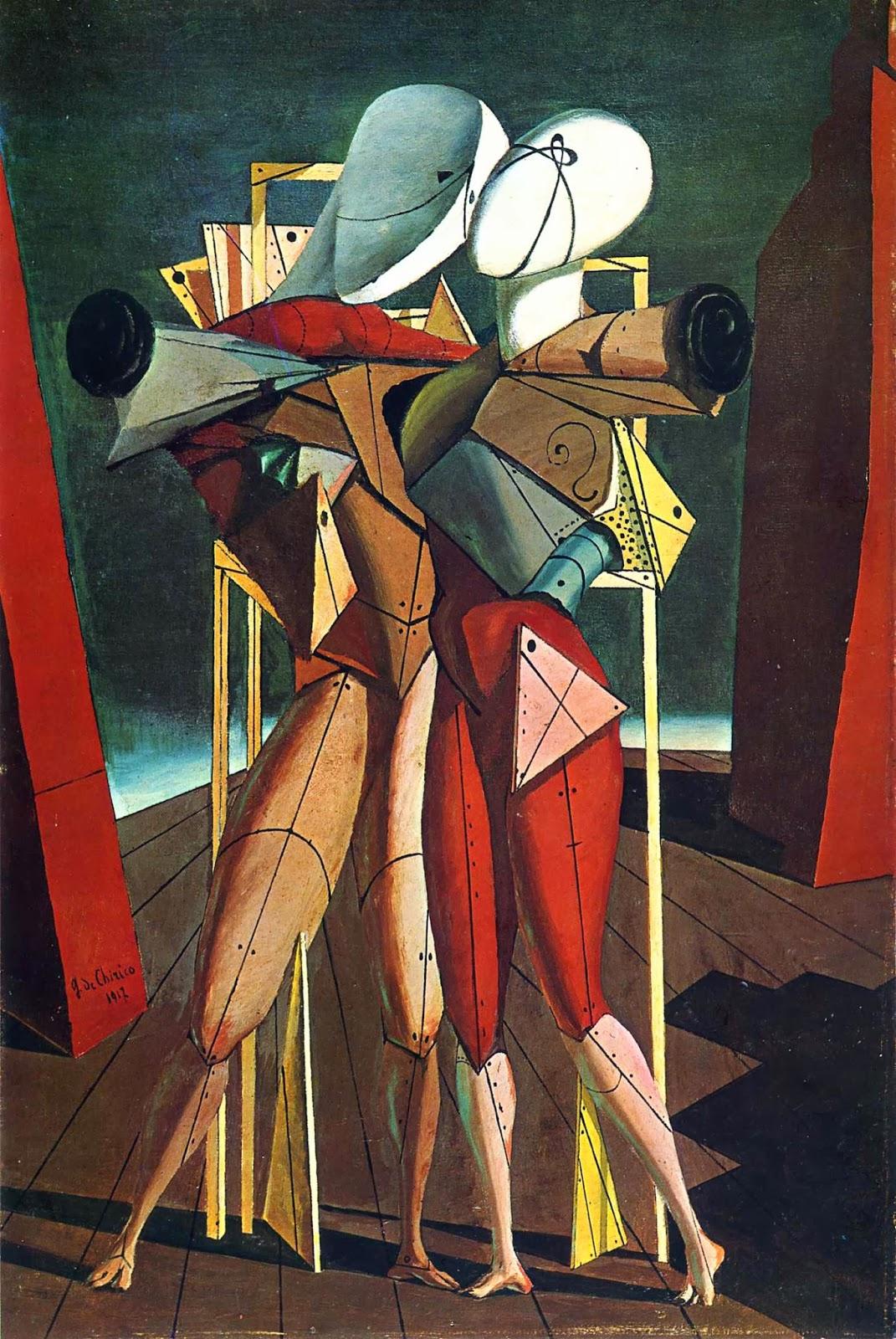 Héctor y Andrómaca. Giorgio de Chirico. 1917, Óleo sobre lienzo, 90x60 cm. Milán, Colección Mattioli.