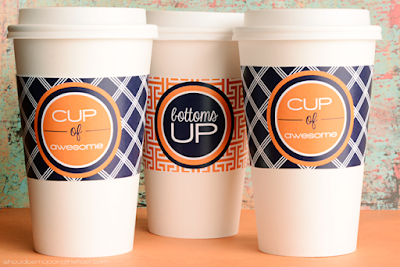 Free Printable Fall Coffee Cup Wrappers & link to other non-fall designs, too! | Four Designs for Fun Gift Giving in a Coffee Cup | Instant Downloads