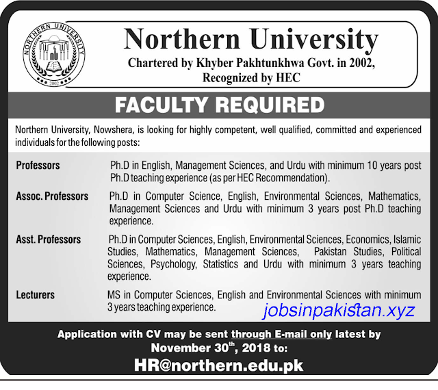 Advertisement for NU Jobs 2018