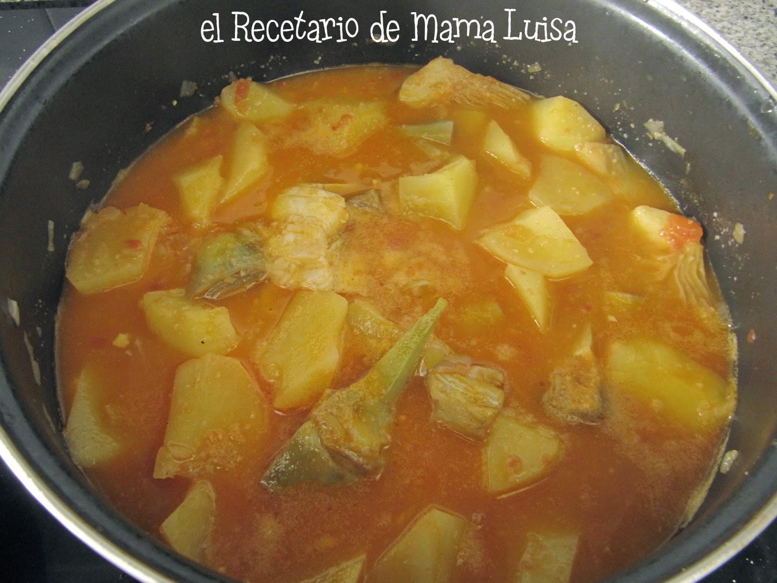 El recetario de mama luisa patatas con bacalao y alcachofas - Bacalao con garbanzos y patatas ...
