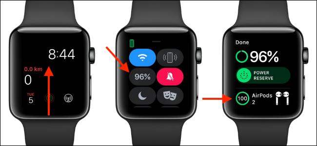 استخدم مركز التحكم على Apple Watch لمعرفة عمر بطارية AirPods