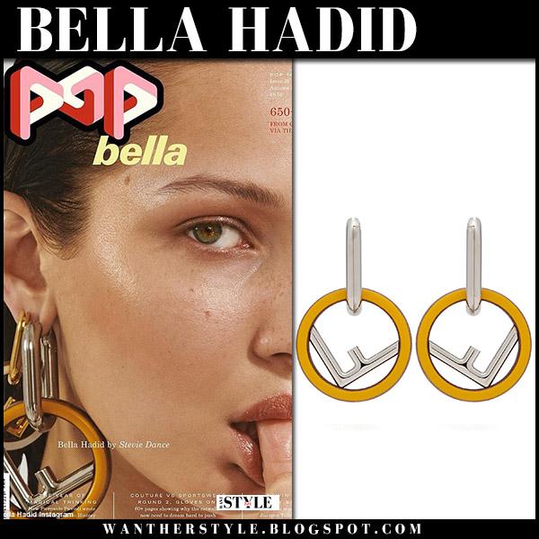Bella Hadid with large fendi logo hoop earrings Pop Magazine september 2018 edition