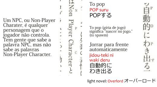 Exemplo de uso de furigana para palavras em Inglês no light novel Overlord.