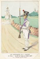 gravure uniforme fusilier du 33e régiment d'infanterie de ligne 1806 - 1807 gravure H Feist
