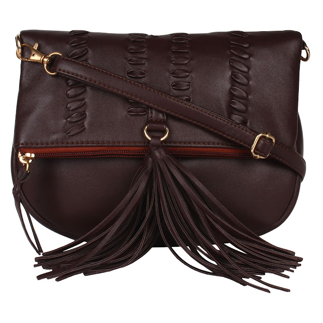 TASSELED SLING BAG - BROWN 1600