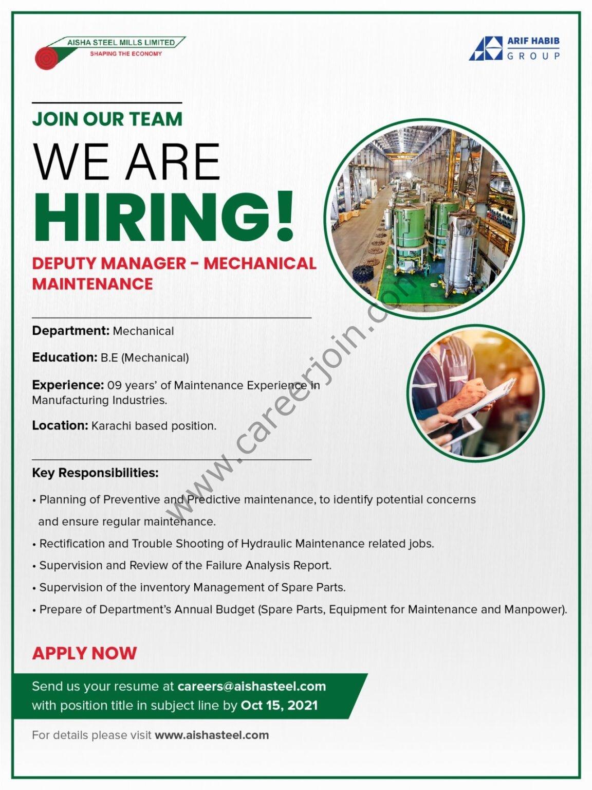 Aisha Steel Mills Limited ASML Jobs Deputy Manager Mechanical Maintenance