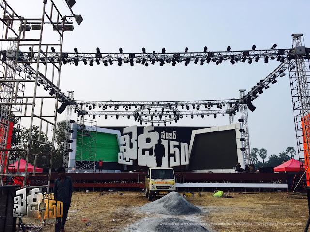 Khaidi no 150 movie Pre Release Event Stage Set Photos