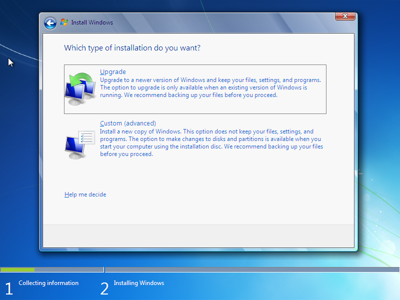 Windows 7 Upgrade dan Custom Install