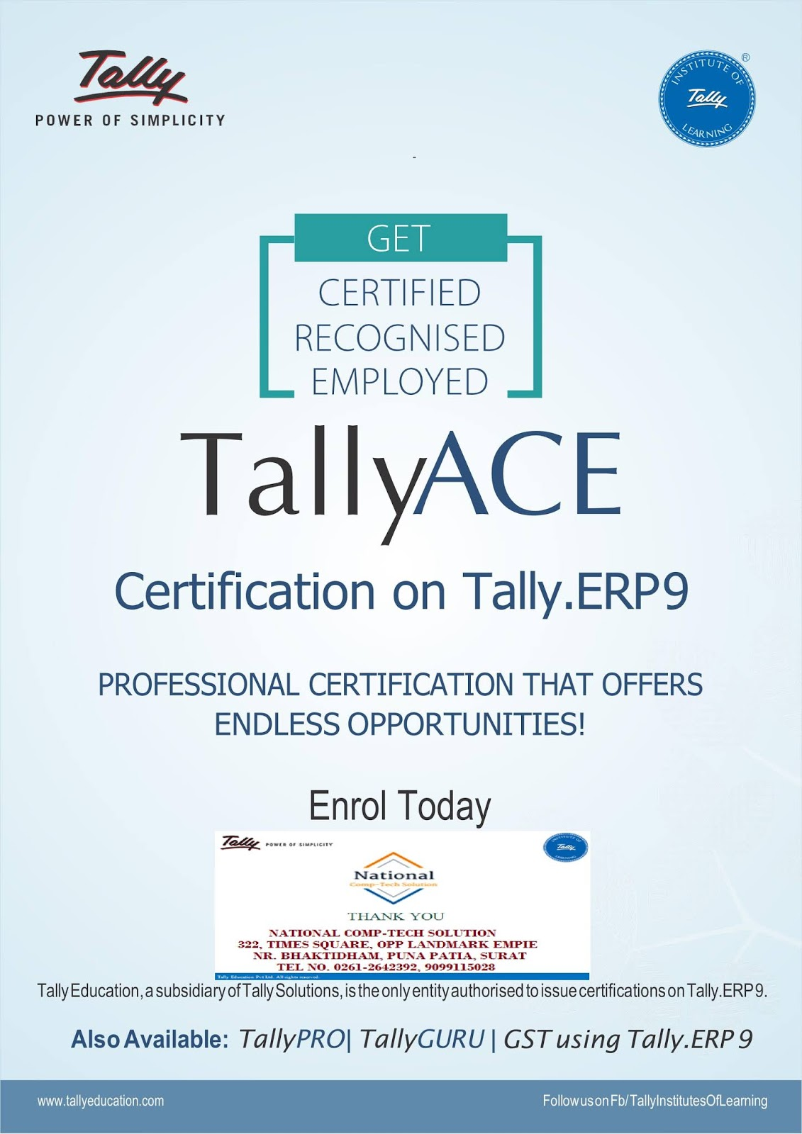 National Comp Tech Solution Tally Ace Certification On Tally Erp9