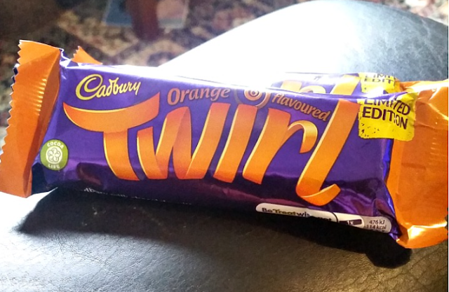 An orange twirl chocolate bar