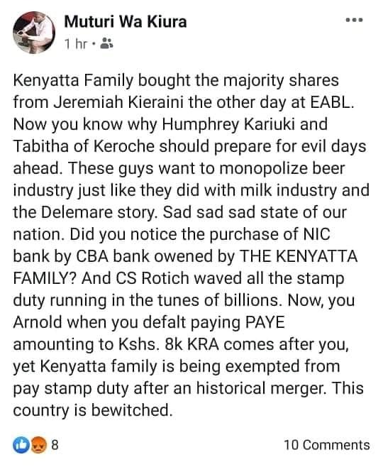 servicing - Kenyatta family is selfish- Why UHURU and his mother ordered for the arrest of HUMPRHEY KARIUKI and the KEROCHE'S (LOOK).