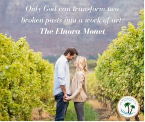 Book Quote with picture of couple holding hands. Only God can transform two broken people into a work of art. Elnora Monet
