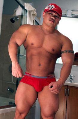 Muscley asian gay cums