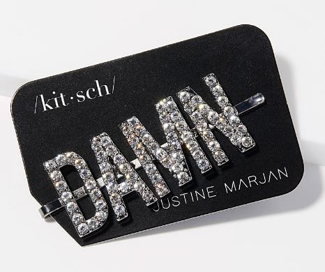 """La pince à cheveux message étincelant, modèle """"damn"""", par Kitsch - Simons"""