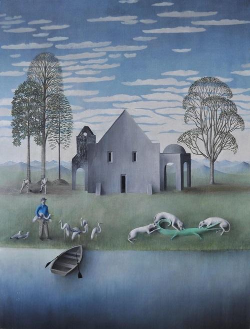 "arte contemporáneo, pinturas, óleos, by James Mortimer ""House on River"", 2017."