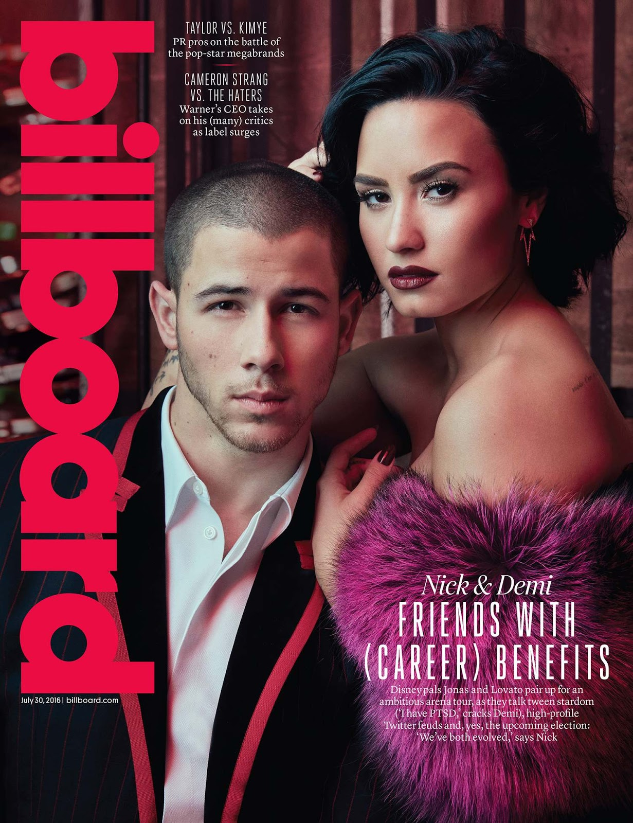 Demi Lovato and Nick Jonas smoulder for Billboard Magazine July 2016