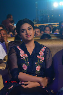 Actress Keerthi Suresh Stills in Blue Long Dress at Nenu Local Audio Launch  0002.JPG