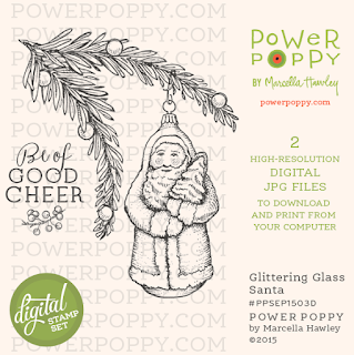 Power Poppy, Marcella Hawley, Glittering Glass Santa, Digital Remixed Image, September 2015
