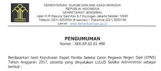 gambar pengumuman nama yg Lolos Administrasi CPNS 2017