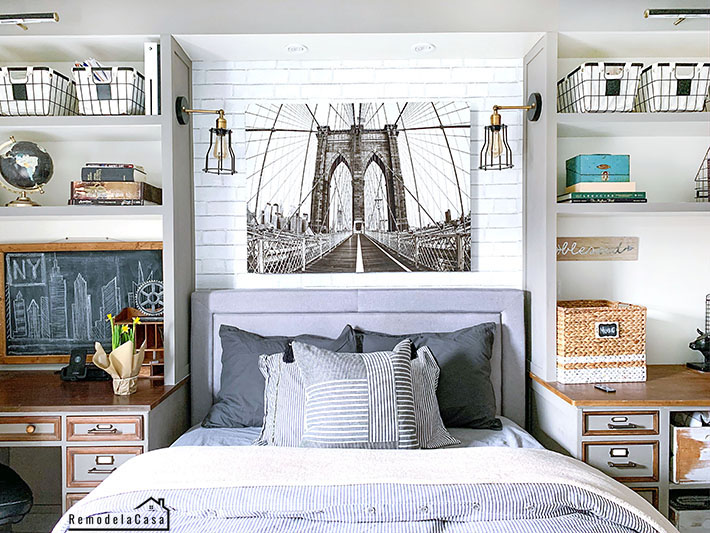Brooklyn Bridge NY art above bed in teen room