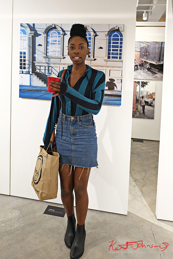 Bold blue stripe with denim skirt, Street Fashion Sydney, New York Edition photographed by Kent Johnson.